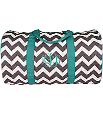 "21"" Gray Chevron Quilted Duffle Bag with Aqua Trim #ZIG2626-AQUA"