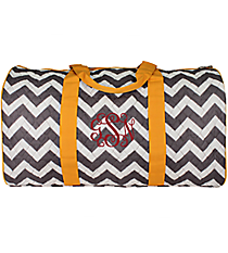 "21"" Gray Chevron Quilted Duffle Bag with Yellow Trim #ZIG2626-YELLOW"