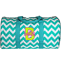 "21"" Light Aqua Chevron Quilted Duffle Bag #ZIA2626-L/AQUA"