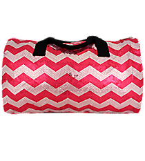"21"" Hot Pink Sequined Chevron Duffle Bag #ZIQ592-H/PINK"