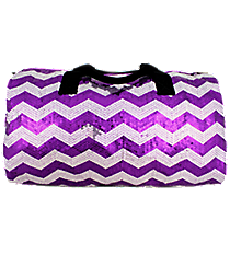 "21"" Purple Sequined Chevron Duffle Bag #ZIQ592-PURPLE"