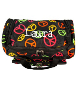 "Multi-Colored Peace Signs on Black 13"" Petite Duffle Bag #T13-608"