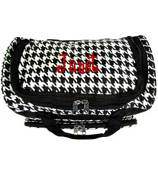 """Houndstooth with Black Trim 13"""" Petite Duffle Bag #T13-606-B/W"""
