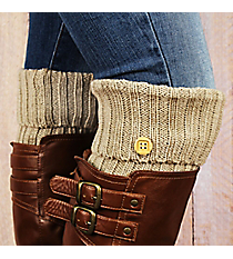 One Pair of Beige Knit Fold-Over Boot Cuffs with Button Accent #EABC4012-BE