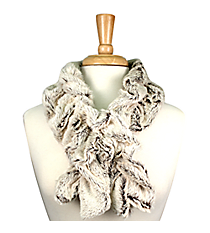 Ruched Two-Tone Fur Pull-Through Scarf #EAFR6155-BRBE