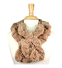 Ruched Beige Fur Pull-Through Scarf #EAFR6196-BE