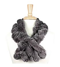 Ruched Grey Fur Pull-Through Scarf #EAFR6196-GE