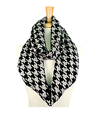 Black and Grey Houndstooth Infinity Scarf #EANT7365-GE