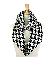 Black and White Houndstooth Infinity Scarf #EANT7365-WT