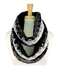Black-Multi Knit Open Weave Infinity Scarf #EANT7402-BKMT
