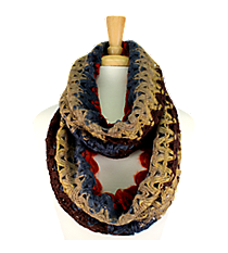 Brown-Multi Knit Open Weave Infinity Scarf #EANT7402-BRMT