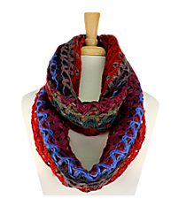Red-Multi Knit Open Weave Infinity Scarf #EANT7402-RDMT