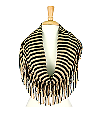 Fringed Black and Tan Striped Infinity Scarf #EANT7504-BK
