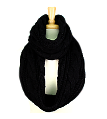 Black Cable Knit Infinity Scarf #EANT7524-BK