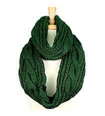 Green Cable Knit Infinity Scarf #EANT7524-GN