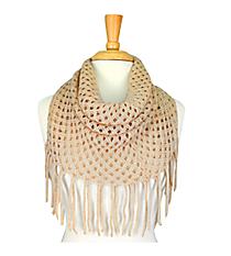 Beige Open Weave Knit Mini Tube Scarf #EANT8104-BE