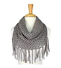 Dark Grey Open Weave Knit Mini Tube Scarf #EANT8104-DG