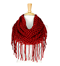 Red Open Weave Knit Mini Tube Scarf #EANT8104-RD