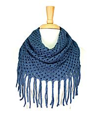 Teal Open Weave Knit Mini Tube Scarf #EANT8104-TL