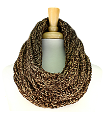 Two-Tone Brown Knit Mini Tube Scarf #EANT8105-BR