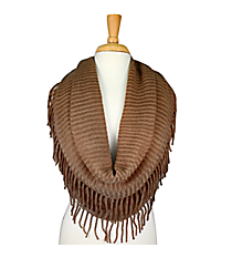 Brown Fringed Infinity Scarf #EANT8130-BR