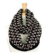 Black and Natural Chevron Open Knit Infinity Scarf #EANT8170-BK