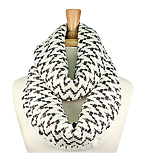 White and Grey Chevron Open Knit Infinity Scarf #EANT8170-WT