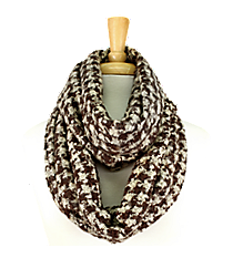 Brown and Tan Feathery Soft Houndstooth Infinity Scarf #EANT8178-BE