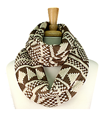 Light Brown and Cream Aztec Print Knit Infinity Scarf #EANT8203-BE