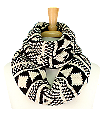 Black and Cream Aztec Print Knit Infinity Scarf #EANT8203-BK