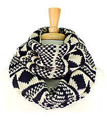 Navy and Cream Aztec Print Knit Infinity Scarf #EANT8203-NV