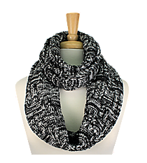 Black and White Knit Infinity Scarf #EANT8218-BK