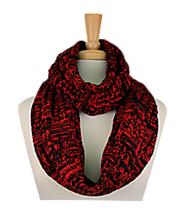 Red and Black Knit Infinity Scarf #EANT8218-RD