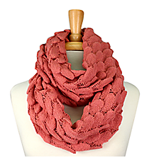 Pink Knit Ripples Scarf #EANT8227-PK