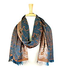 Turquoise Paisley Pashmina Shawl #EAPS8136-BK