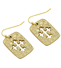 Goldtone Small Cut Out Cross Earrings #8269E-GD-CROSS
