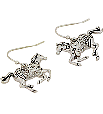 Silvertone and Crystal Horse Earrings #AE1144-AS