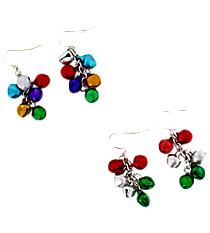 One Pair Jingle Bell Earrings #X-JNGER-SHIPS ASSORTED