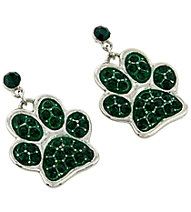 Emerald Crystal Paw Print Earrings #QE1313-EME