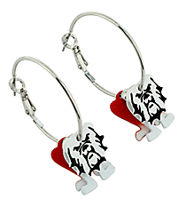"1"" Red Bulldog Hoop Earrings #QE1326-RED"