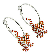 "1"" Orange and White Dog Hoop Earrings #QE1327-ORA/WHT"
