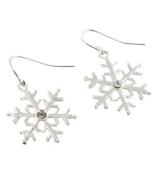Silvertone Crystal Snowflake Earrings #0146M-SC