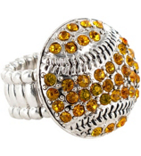 Gold Crystal Baseball Stretch Ring #48777-GOLD