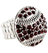 Burgundy Crystal Baseball Stretch Ring #48809-BURGUNDY