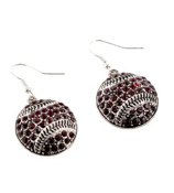 Burgundy Crystal Baseball Earrings #48810-BURGUNDY