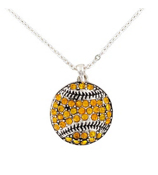 "18"" Gold Crystal Baseball Necklace #48779-GOLD"