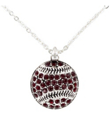 "18"" Burgundy Crystal Baseball Necklace #48811-BURGUNDY"