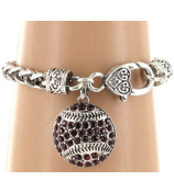 Burgundy Crystal Baseball Bracelet #48812-BURGUNDY