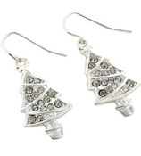 Crystal Accented Silvertone Christmas Tree Earrings #AE0982-SC