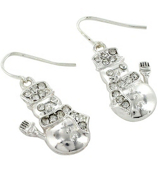 Crystal Accented Silvertone Snowman Earrings #AE0980-SC